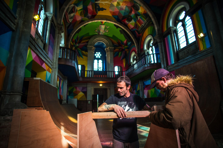 Image: Members of the collective The Church Brigade work on a ramp