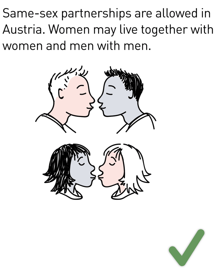 Image: In Austria, a special guide informs incoming migrants about equal rights for gay people.