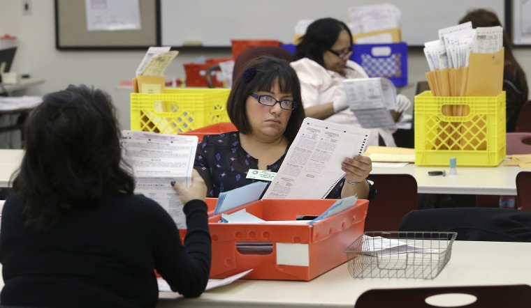 Lydia Harris, a temporary worker at the Sacramento Registrar of Voters, looks over a mail-in ballot before it is sent to be counted in Sacramento, California on Nov. 12, 2014.