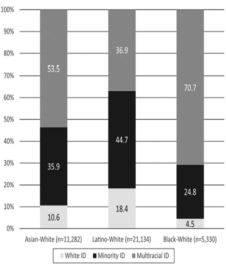 A graph showing surveyed respondents' self-identification by race.