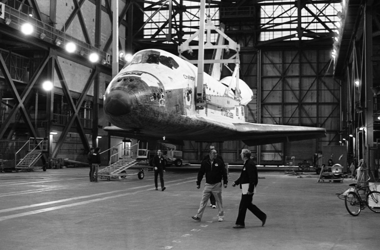 Image: The space shuttle Challenger is transferred to the high bay of the Vehicle Assembly Building at NASA's Kennedy Space Center