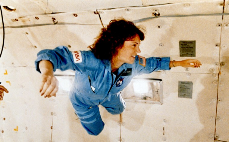 """Image: Christa McAuliffe gets a preview of microgravity on NASA's specially equipped KC-135 \""""zero gravity\"""" aircraft"""
