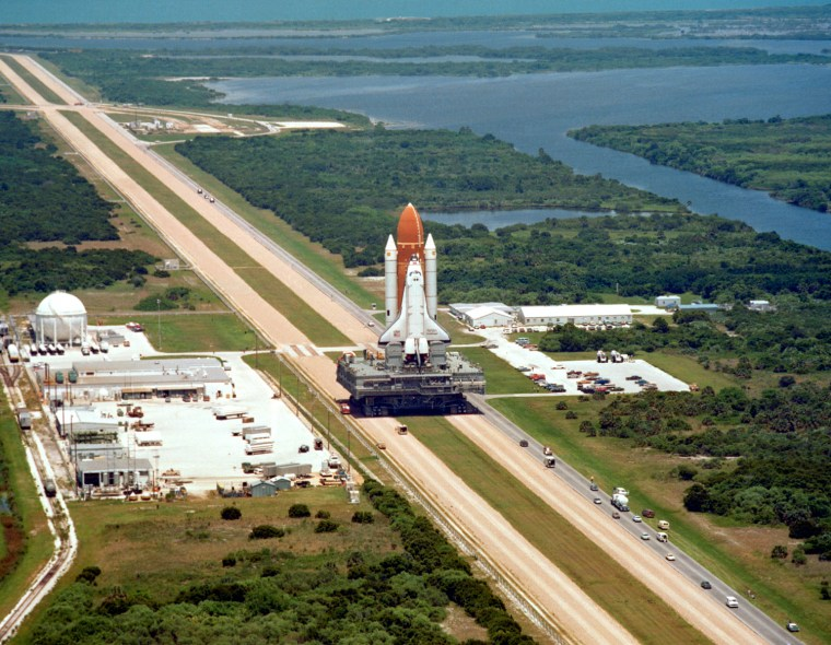 Image: The shuttle Challenger is delivered to its launch pad at NASA's Kennedy Space Center