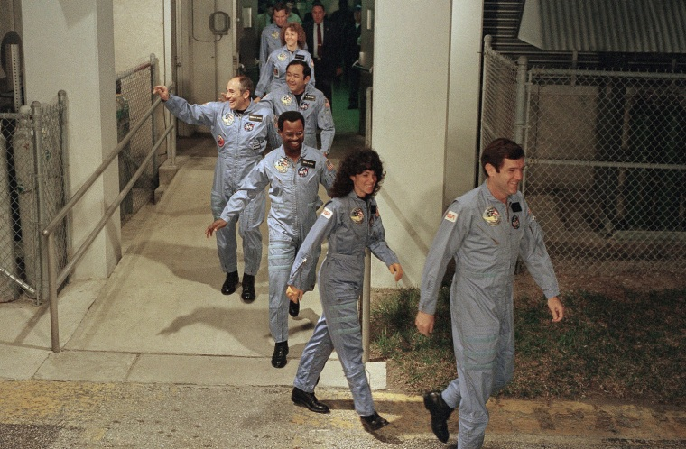 Image: Challenger's crew members leave their quarters at Kennedy Space Center for the launch pad