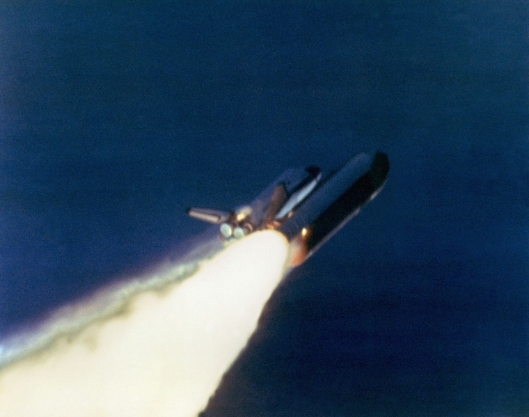 Image: The right solid rocket booster on the shuttle Challenger begins to explode