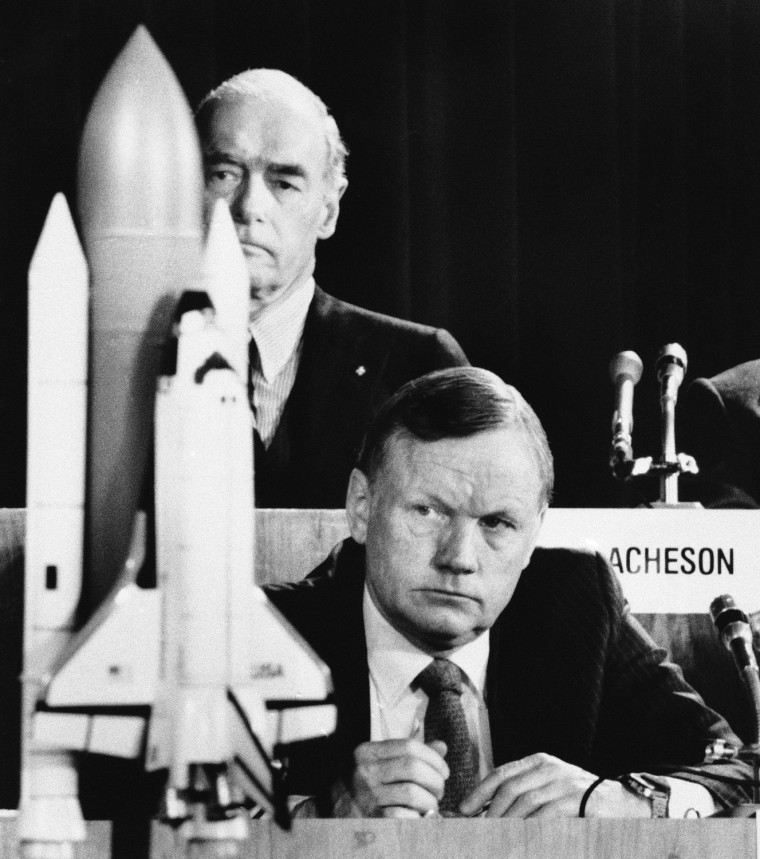 Image: Apollo 11 moonwalker Neil Armstrong listens to testimony before the commission investigating the Challenger explosion