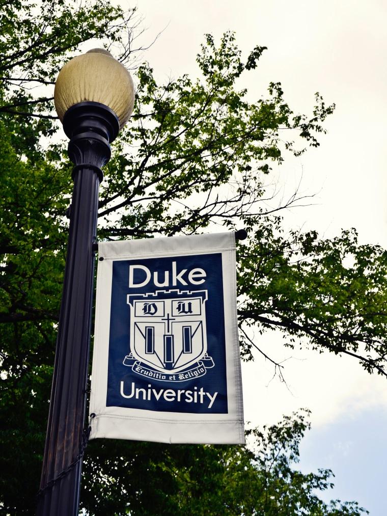 Image: A Duke University sign on campus of Duke University