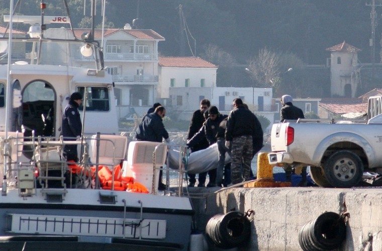 Image: A coast guard vessel arrives with the dead bodies of migrants on the eastern Greek island of Samos, Thursday.