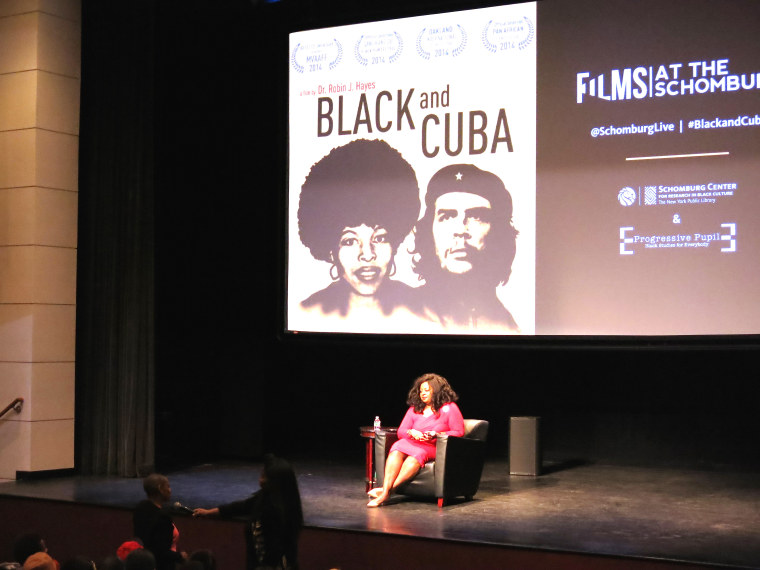 """Black and Cuba"" director Dr. Robin J Hayes takes audience questions after the film's screening at the Schomburg Center For Research in Black Culture in Harlem, New York.(Photo By Melissa Noel)"