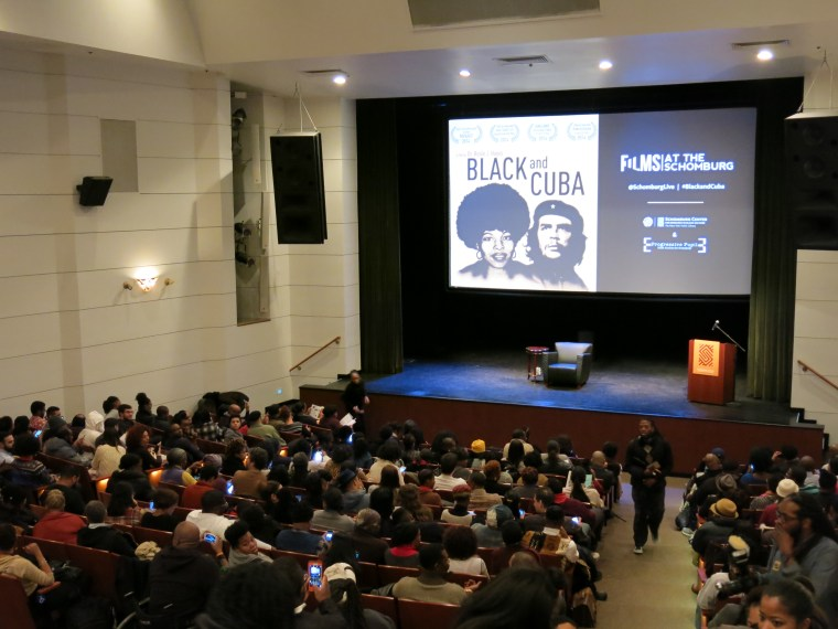 """There was not an empty at the Schomburg Center's Langston Hughes auditorium for the January 26th screening of """"Black and Cuba"""". The event was sold out.  (Photo By Melissa Noel)"""