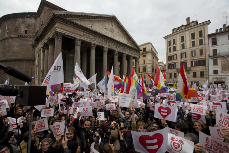 Image: Saturday's 'Family Day' rally against same-sex unions comes after gay activists flooded Italy's streets Jan. 23 in favor of the proposed law.
