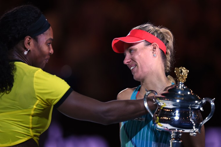 Image: Germany's Angelique Kerber after her victory against Serena Williams at the 2016 Australian Open tennis tournament in Melbourne.