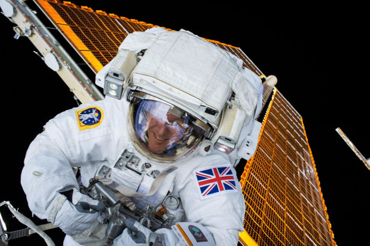 Image: British astronaut Tim Peake is shown during his first spacewalk at the International Space Station
