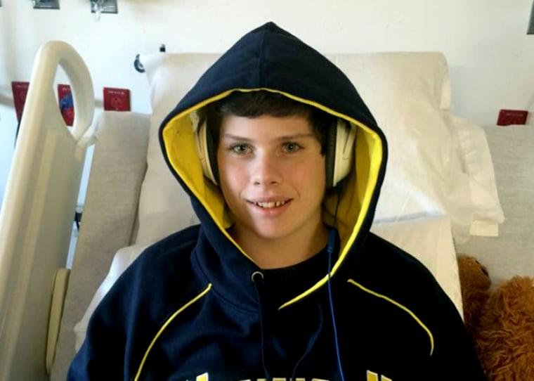Trevor Sullivan after the 15-year-old got his heart transplant