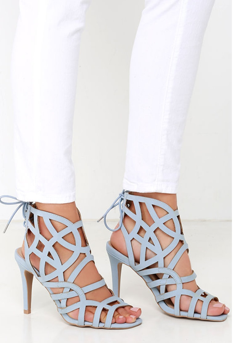 While You're Dancing ash blue nubuck caged heels luxe for less