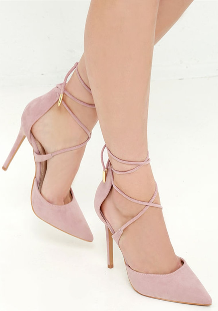 Michele Dusty Rose lace-up heels luxe for less