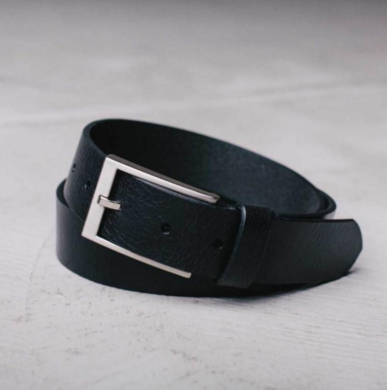 DSTLD men's thin leather belt in black