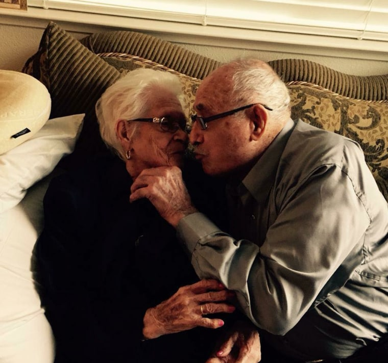 Nicholas and Rafaela Ordaz of Tracy, California. The couple has been married for 82 years.