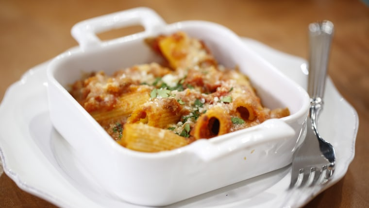 Kristin Sollenne cooks up Baked Rigatoni with Italian Sausage, Peppers and Onions
