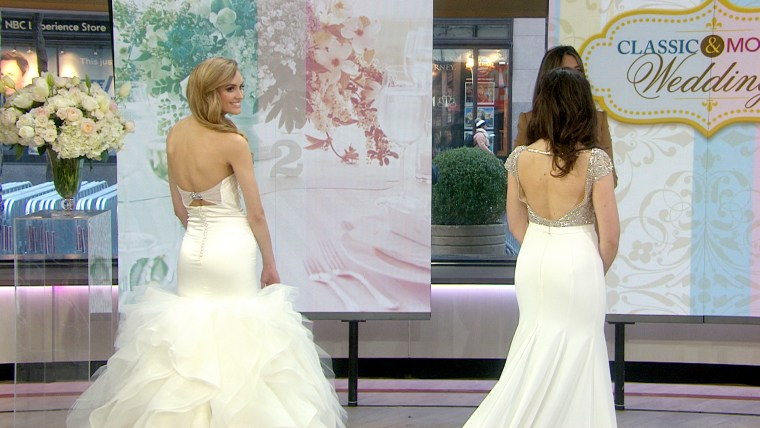 The backs of classic and modern wedding dresses