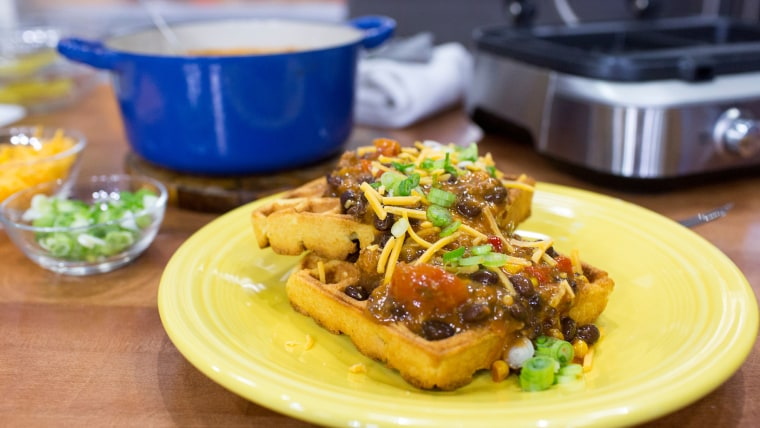 Justin Chapple demonstrates time-saving ways to cook up Cornbread Waffles with Chili and Cheese