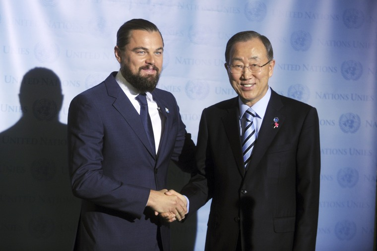 Leonardo DiCaprio Named UN Messenger Of Peace by the Un Secretary General Ban Ki-Moon at the United Nations on September 20, 2014 in New York City. Photo by: Dennis Van Tine/Geisler-Fotopres/picture-alliance/dpa/AP Images
