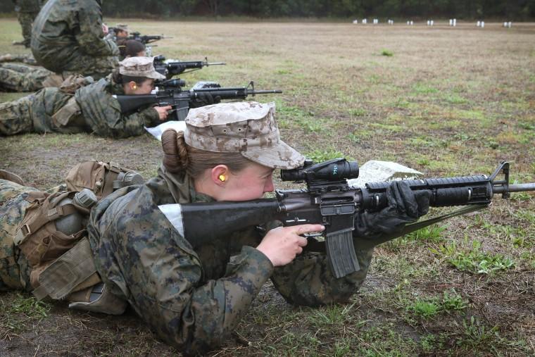 Image: Female Marines Participate In Marine Combat Training At Camp LeJeune