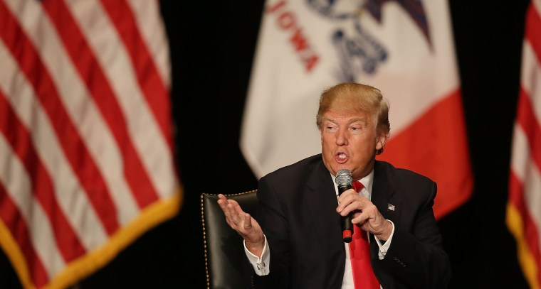 Image:  Republican presidential candidate Donald Trump attends a campaign rally