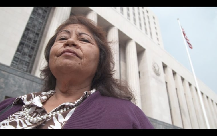 Plaintiff Maria Figueroa at the federal courthouse in downtown Los Angeles.