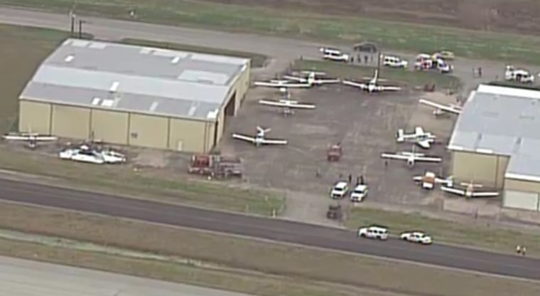 Image: aircraft hits hangar, bursting into flames at Southwest Regional Airport
