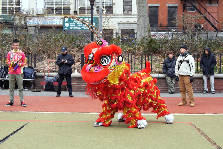 Image: New York United Lion and Dragon Dance Troupe practices