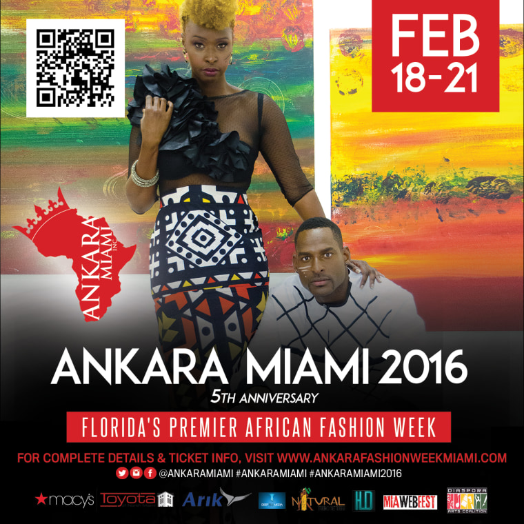 Promotion for Ankara Miami's African Fashion Week, the largest runway show in Florida featuring up-and-coming, established designers from the African Diaspora.