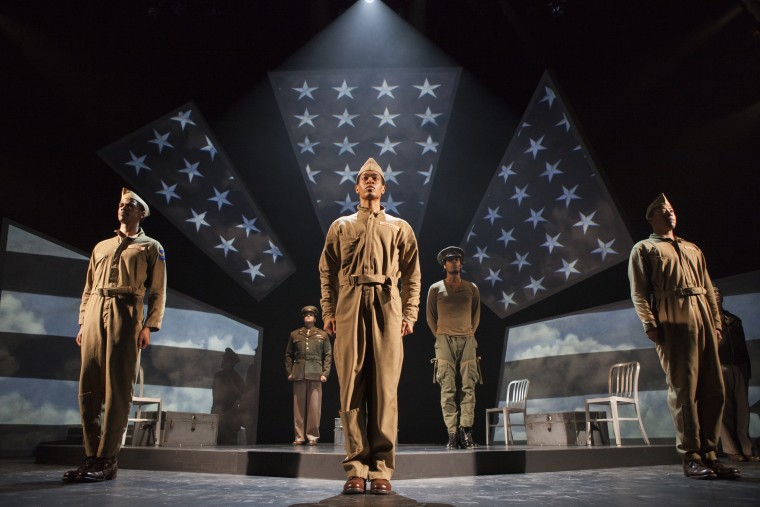 "Tuskegee Airmen in ""Fly"", an off-Broadway play by Trey Ellis and Ricardo Khan, Tony Award-winning co-founder of Crossroads Theatre Company."