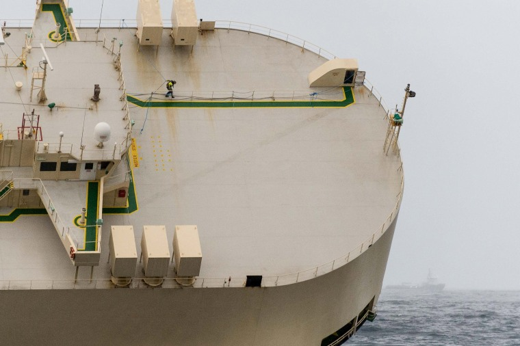 Image: Stricken cargo ship 'Modern Express' is seen in the Atlantic Ocean off France