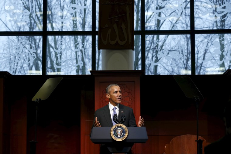 Image: Obama delivers remarks at the Islamic Society of Baltimore mosque in Catonsville, Maryland
