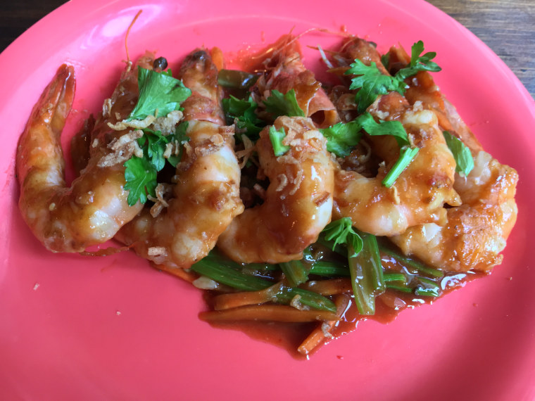 """Laughing prawns are a """"delicious dish that is a great fit for any feast,"""" says chef Simpson Wong."""