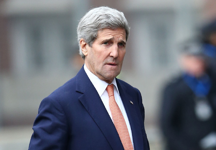 Image: John Kerry arrives at a London conference entitled 'Supporting Syria & The Region'.