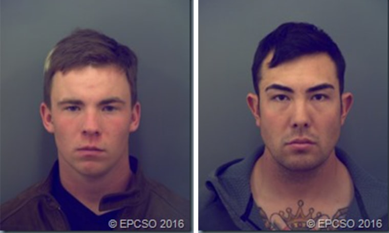 20-year-old Pvt. Tyler Shane Hall, left, of the 1st Armored Division, and 25-year-old Sgt. Eric Duvall, right, of the 1st Armored Division were identified as suspects Wednesday in the death of Michael Tapia.