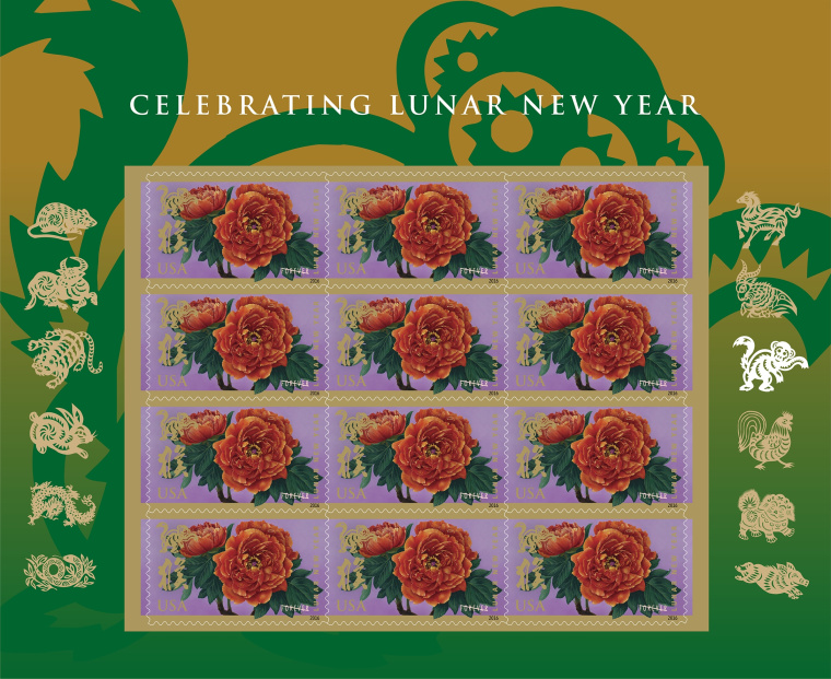 """The U.S. Postal Service's new stamp, created by Kam Mak, """"incorporates two elements from the previous series of Lunar New Year Stamps,"""" according to the USPS: two bright red-orange peonies -- which symbolize wealth and honor in Chinese culture and often decorate the traditional drums played during lion dances -- and late artist Clarence Lee's paper-cut design of a monkey."""