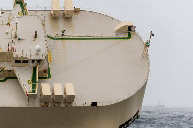 Image: Stricken cargo ship 'Modern Express' is seen in the Atlantic Ocean off France