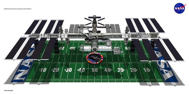 Including its solar arrays, the International Space Station's length and width is about the size of a football field.