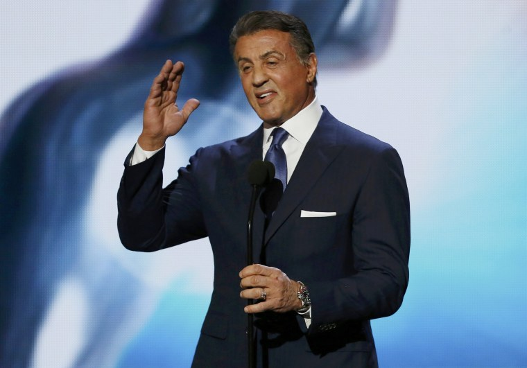 """Image: Actor Sylvester Stallone introduces a clip from the nominated film """"Creed"""" at the 47th NAACP Image Awards in Pasadena"""