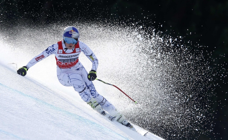 Image: Vonn of the U.S. skis during in the Alpine Skiing World Cup women's downhill race in the Bavarian ski resort of Garmisch-Partenkirchen