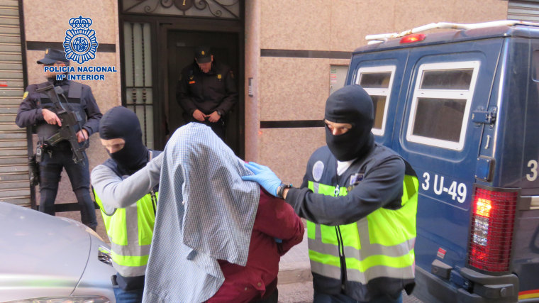Spain's National Police carried out 12 raids on Sunday.