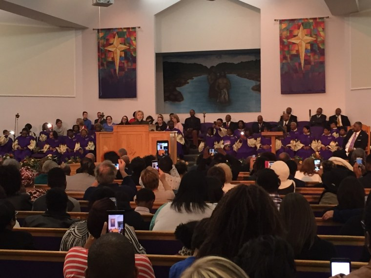Hillary Clinton at the House of Prayer Missionary Baptist Church in Flint, Michican, on Sunday, February 7.