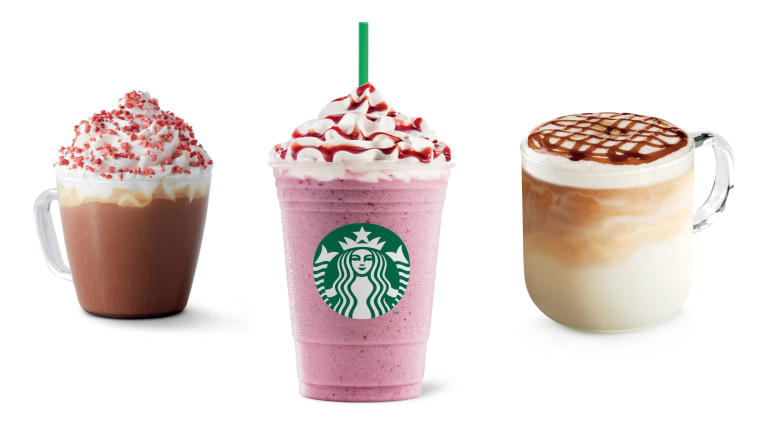 An array of drinks available at Starbucks abroad: strawberry red velvet mocha, summer berry frappuccino and burnt caramel latte