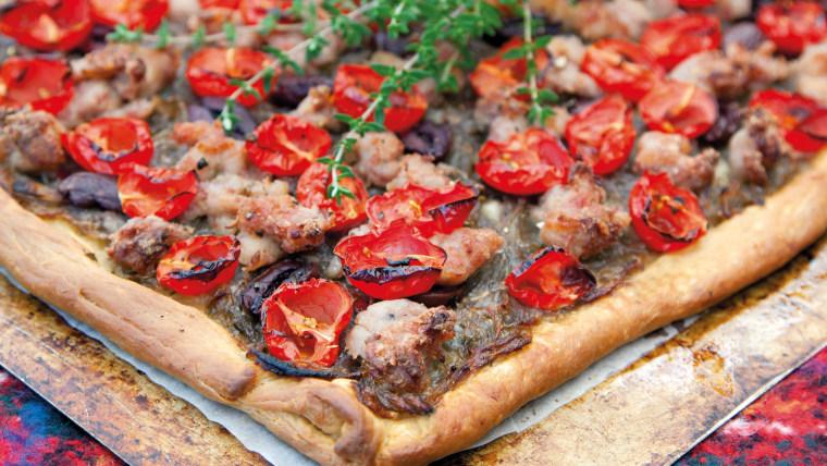 Sausage, Tomato and Olive Pissaladière