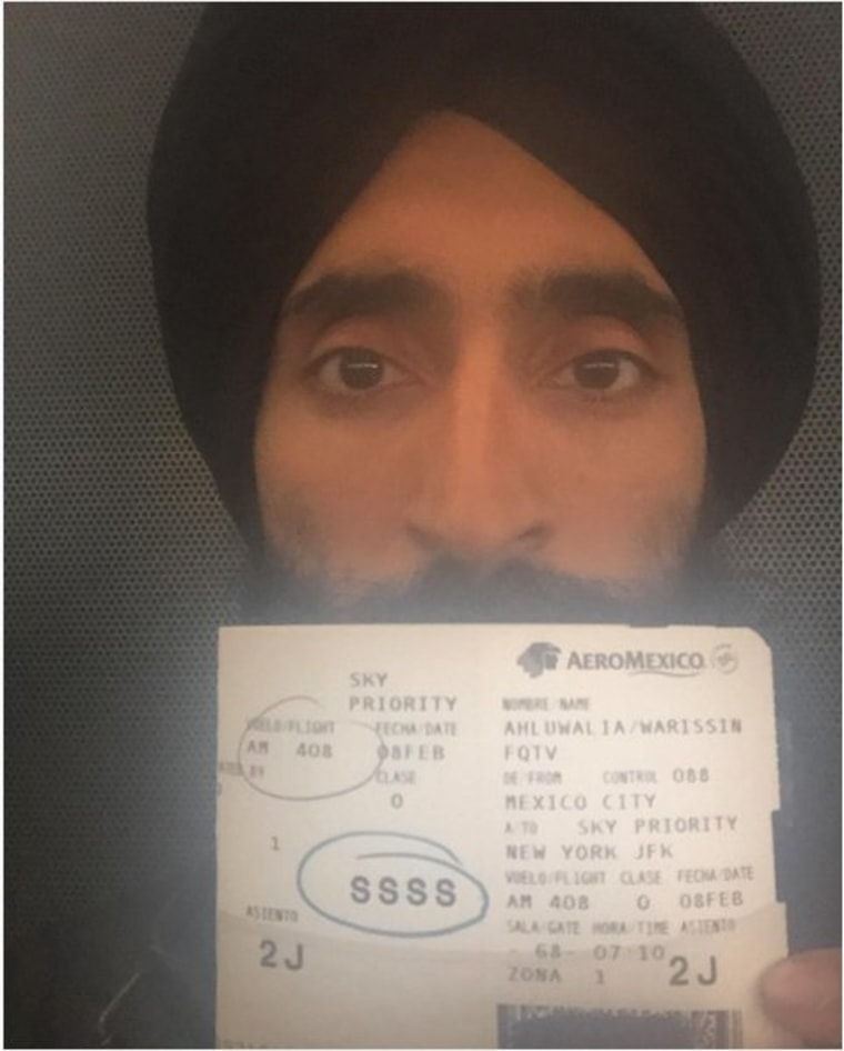 Waris Ahluwalia, a Sikh-American designer and actor, posted this photo after he said he was told he could not board his flight from Mexico City because of his turban.