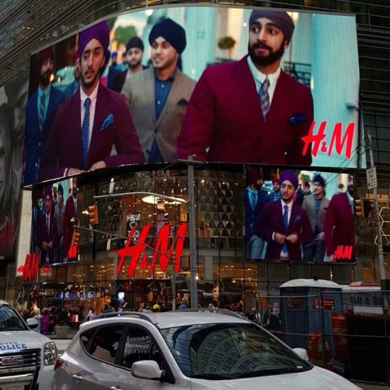 H&M's digital billboard in Times Square featuring Sikh models.