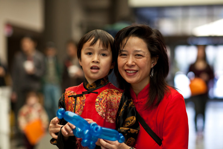 Frances Kai-Hwa Wang with her son.